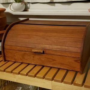 Vintage mid-century teak breadbox
